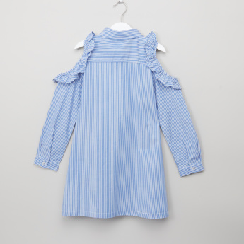 Bossini Striped Ruffle Detail Long Sleeves Dress
