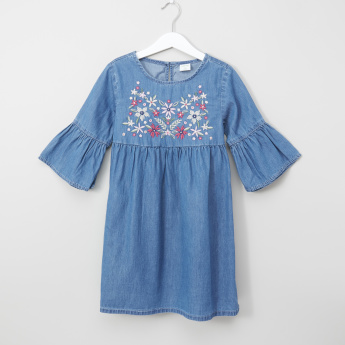 Bossini Embroidered Peplum Sleeves Denim Dress