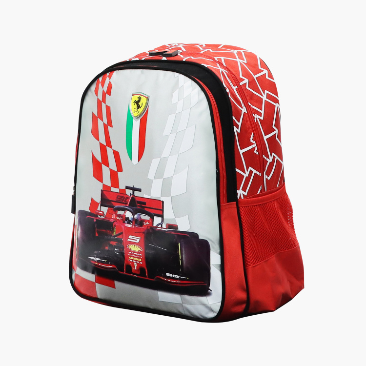 Ferrari Print Backpack with Adjustable Straps and Zip Closure