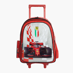 Ferrari Print Trolley Backpack with Zip Closure - 18 inches