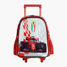 Ferrari Print Trolley Backpack with Zip Closure - 16 inches
