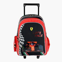 Ferrari Print Trolley Backpack with Zip Closure- 18 inches