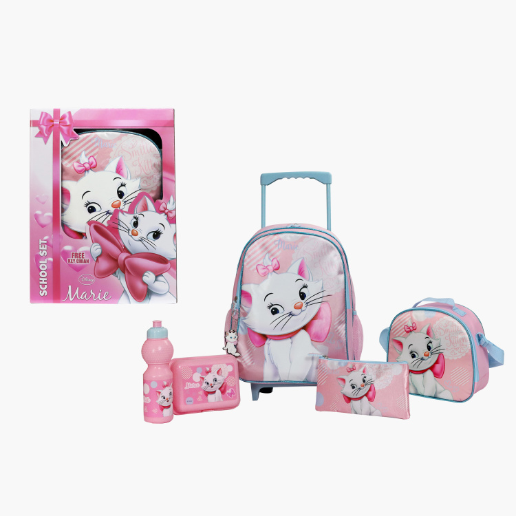 Disney Marie Print 5-Piece Trolley Backpack Set