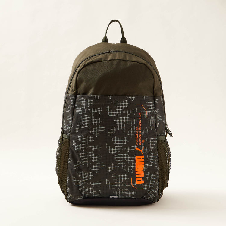 PUMA Printed Backpack with Adjustable Shoulder Straps and Zip Closure