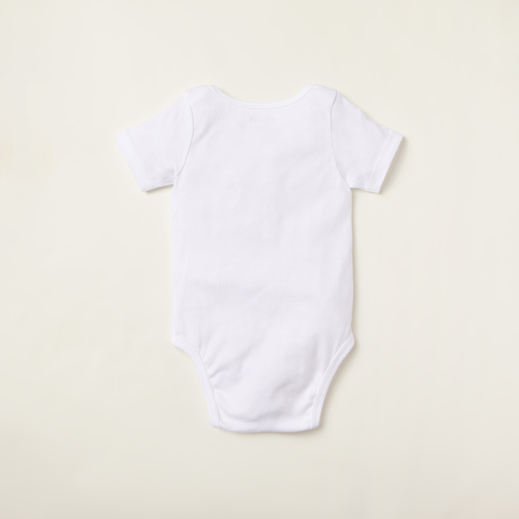 Juniors Plain Bodysuit with Round Neck and Short Sleeves