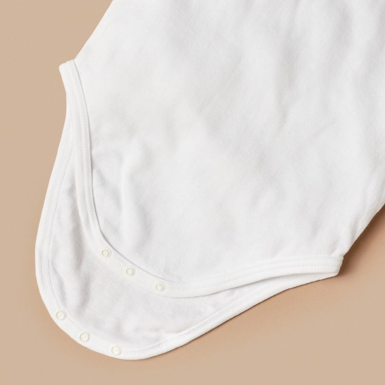 Juniors Plain Bodysuit with Round Neck and Long Sleeves