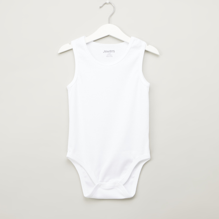 Juniors Solid Sleeveless Bodysuit with Snap Button Closure