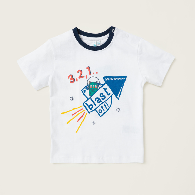 Juniors Graphic Print T-shirt with Short Sleeves - Set of 3