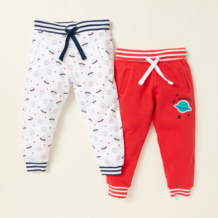 Juniors Printed Pants with Drawstring Closure - Set of 2