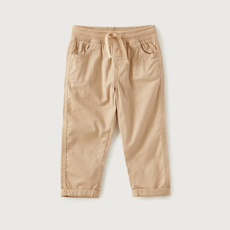 Juniors Solid Woven Pants with Drawstring Closure