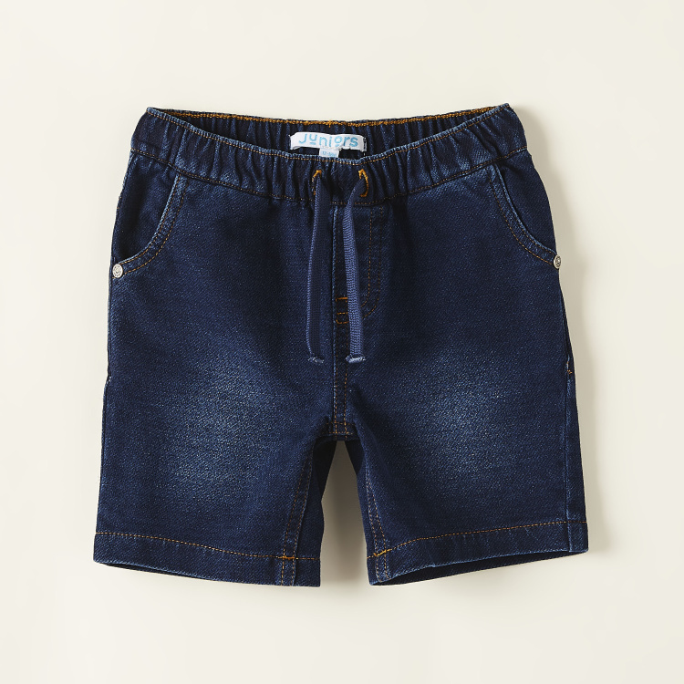 Juniors Solid Denim Shorts with Pockets and Drawstring Closure
