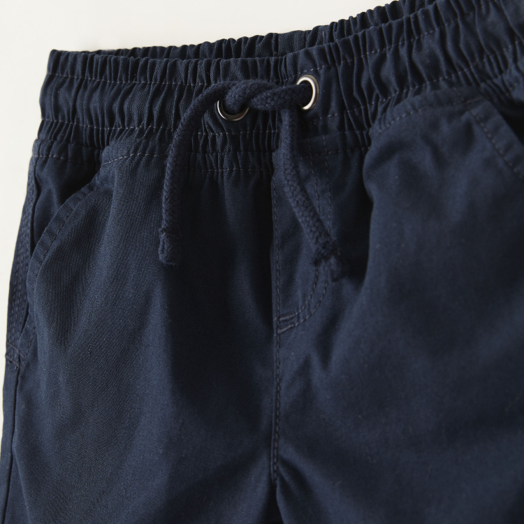 Juniors Solid Shorts with Drawstring Closure and Pockets