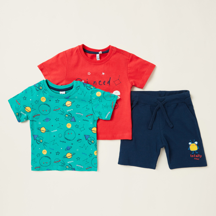 Juniors Printed 3-Piece T-shirt and Shorts Set