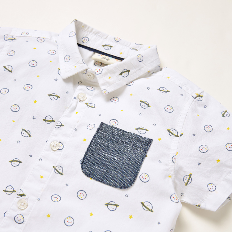 Juniors All-Over Print Shirt with Textured Shorts Set