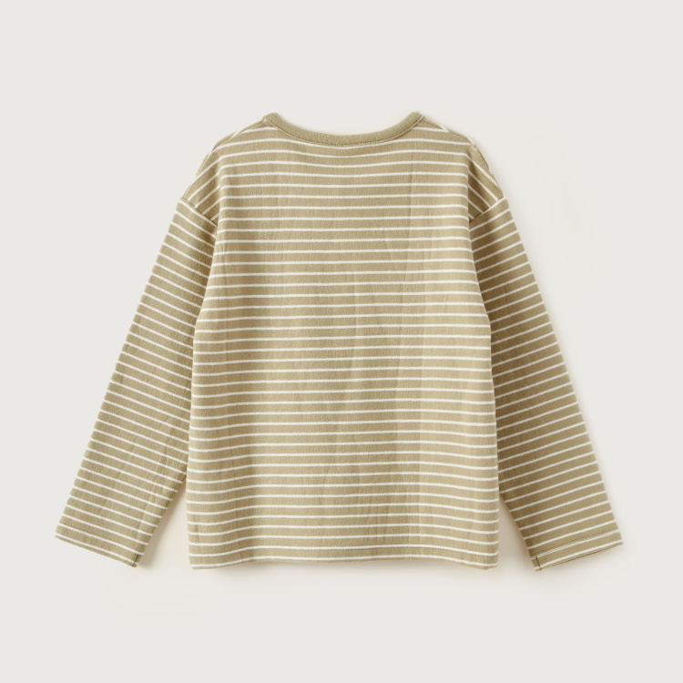 Giggles Striped Henley Neck T-shirt with Long Sleeves