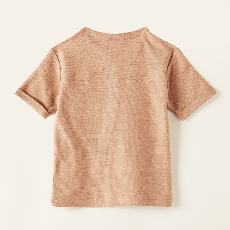 Giggles Solid Round Neck T-shirt with Short Sleeves