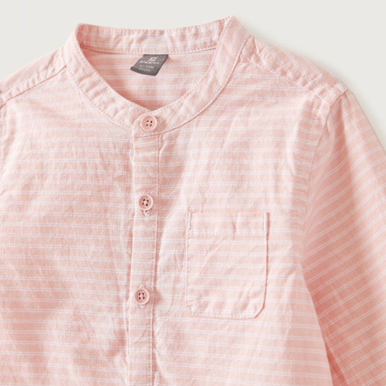 Giggles Striped Shirt with Long Sleeves and Patch Pocket