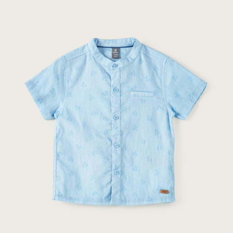 Giggles Floral Print Shirt with Mandarin Collar and Short Sleeves