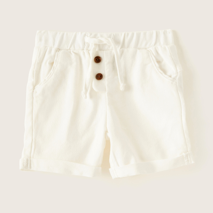 Giggles Solid Shorts with Elasticised Waistband and Drawstring Closure