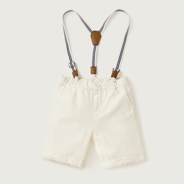 Giggles Collared Shirt and Shorts Set with Suspenders