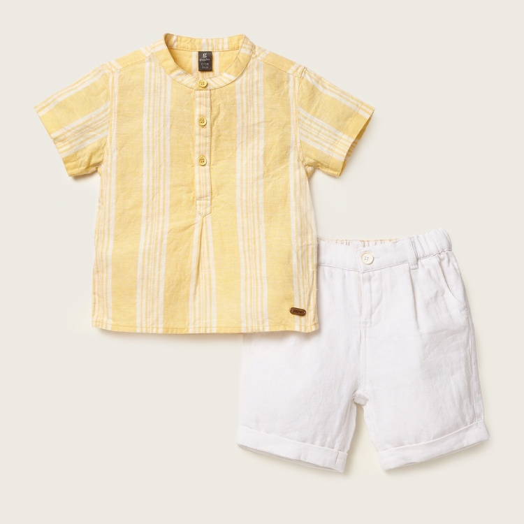 Giggles Striped Mandarin Collar Shirt and Solid Shorts Set