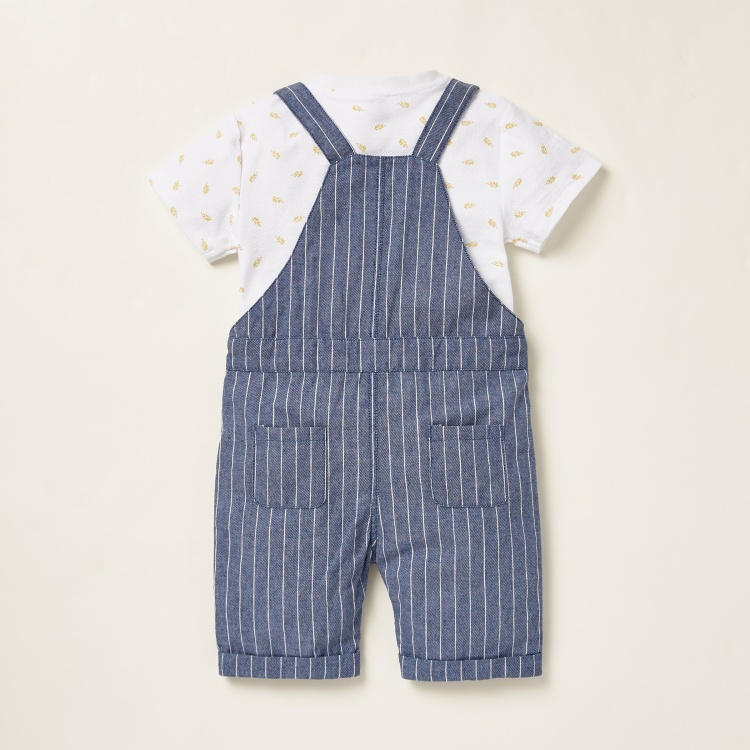 Giggles All-Over Print T-shirt with Striped Dungarees Set