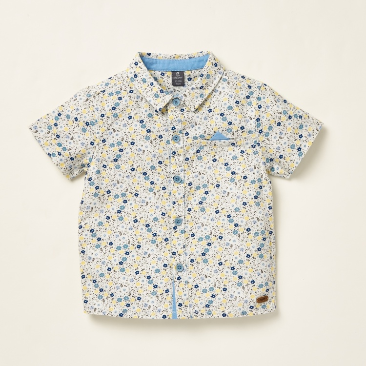 Giggles All-Over Floral Print Shirt with Solid Shorts and Suspenders