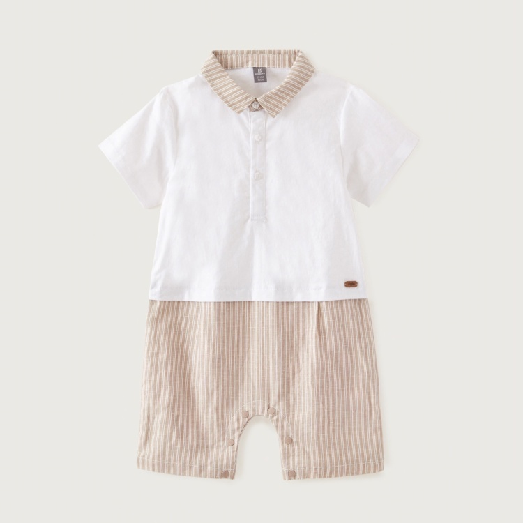Giggles Striped Romper with Short Sleeves