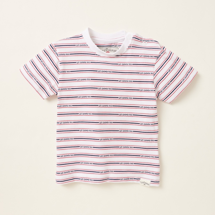 Lee Cooper Striped T-shirt with Solid Denim Shorts