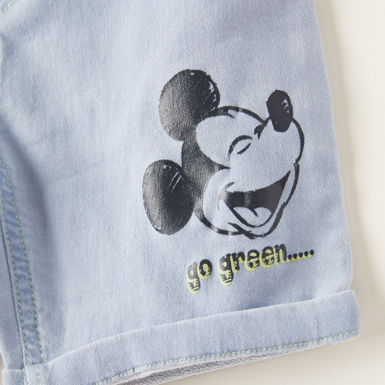 Disney Mickey Mouse Graphic Print Denim Shorts with Pocket Detail