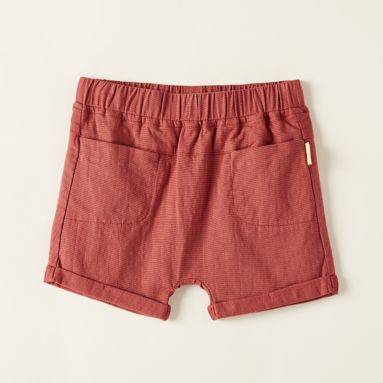 Solid Shorts with Elasticated Waistband and Pockets