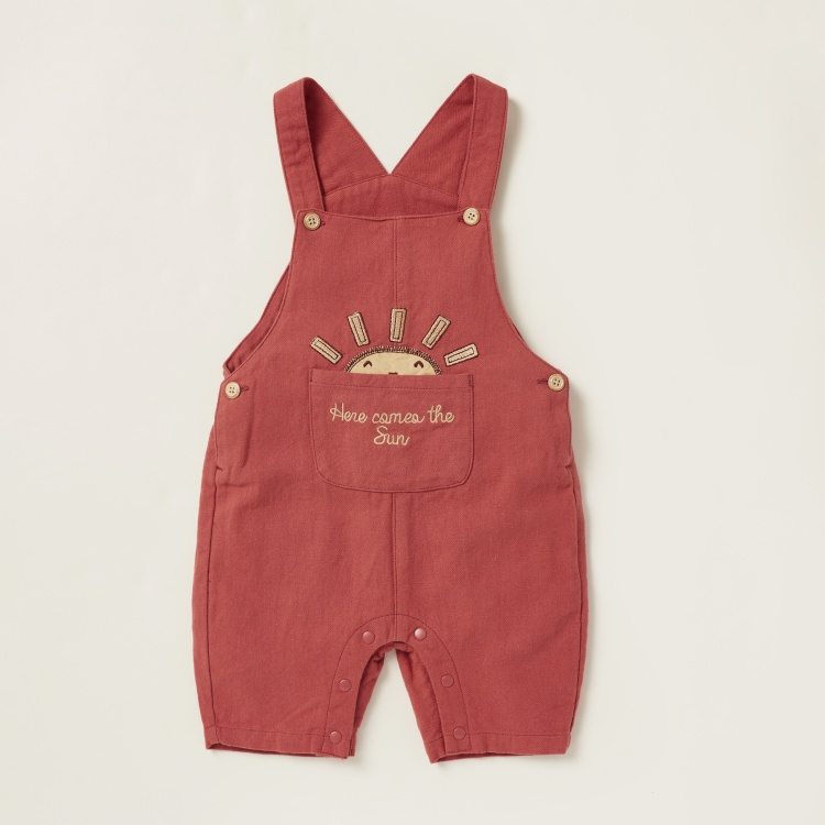 Love Earth Ribbed Bodysuit with Embroidered Detail Dungaree Set