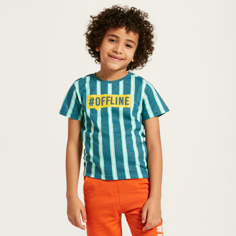 Juniors Striped T-shirt with Crew Neck and Short Sleeves