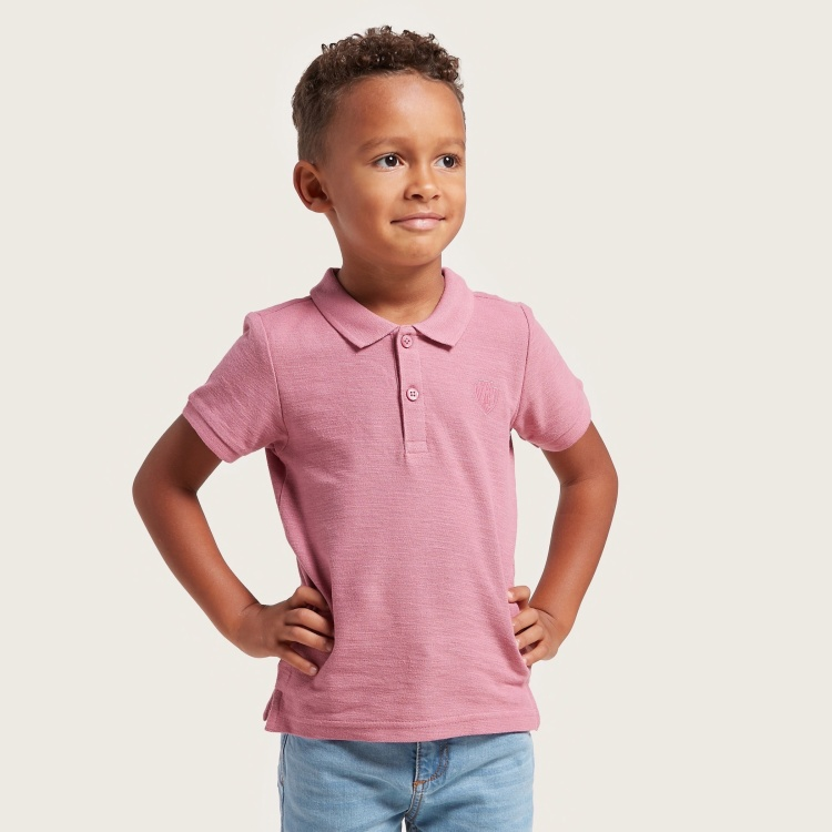 Juniors Solid Polo T-shirt with Short Sleeves and Button Closure