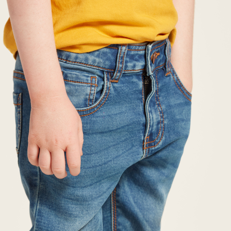 Juniors Solid Denim Pants with Button Closure and Pockets