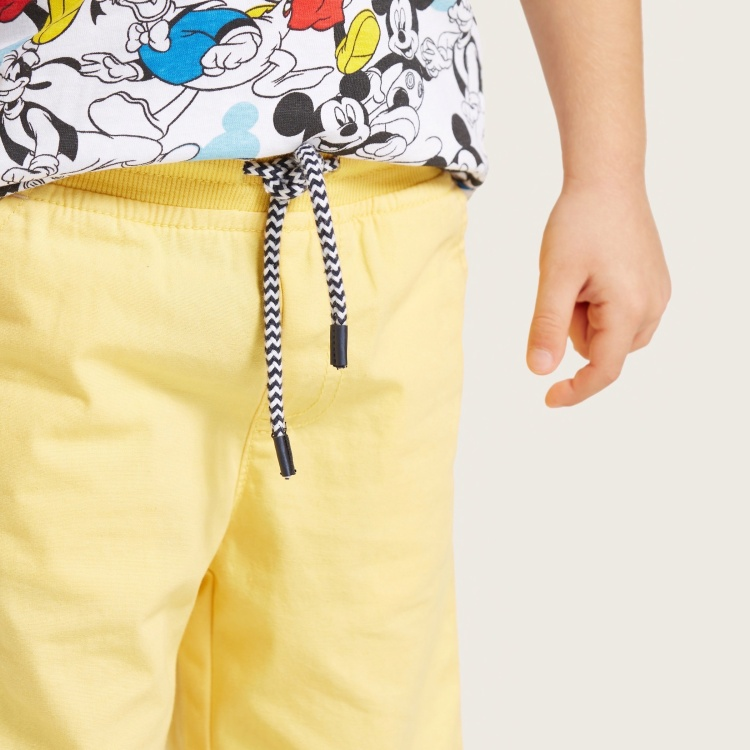 Juniors Solid Woven Shorts with Pockets and Drawstring Waistband