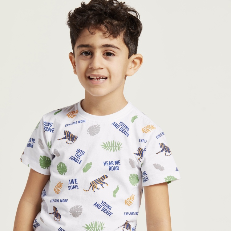 Juniors 3-Piece Graphic Print Round Neck T-shirt and Shorts Set