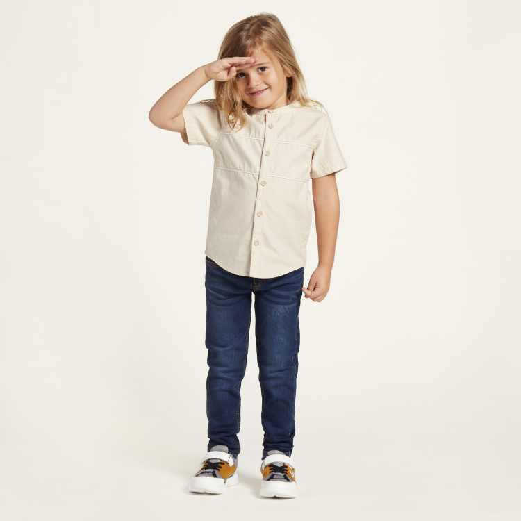 Juniors Solid Shirt with Mandarin Collar and Short Sleeves