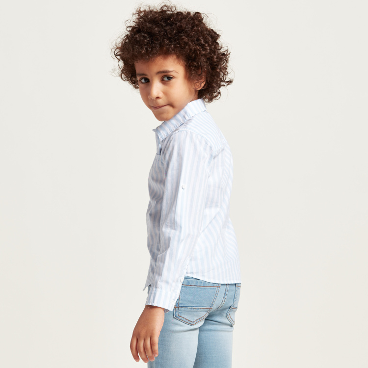 Juniors Striped Long Sleeves Shirt with Button Closure and Pocket
