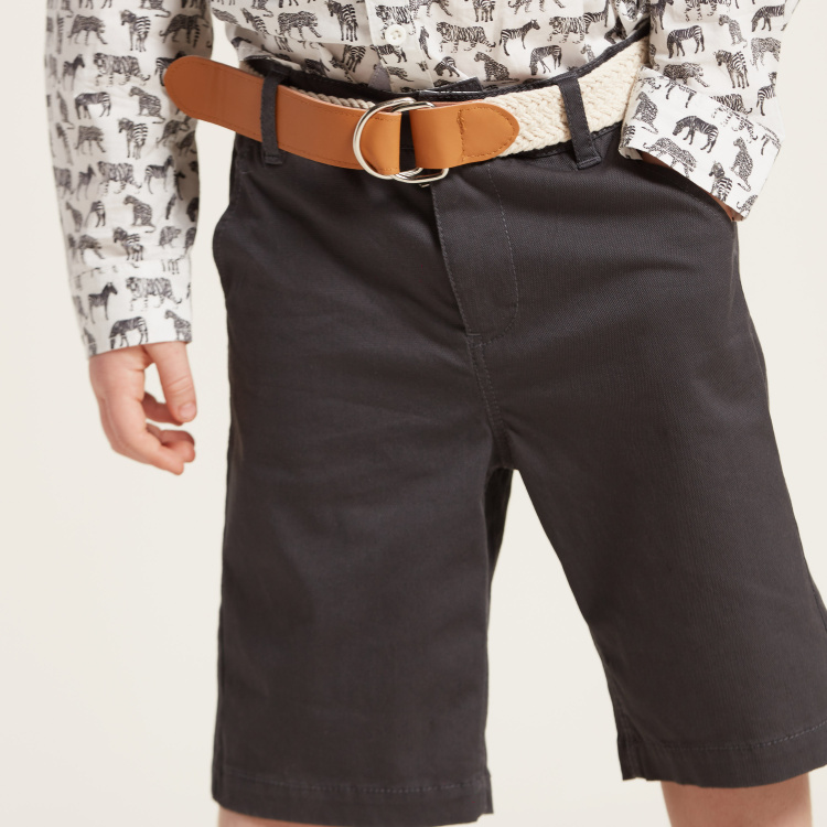 Juniors Solid Shorts with Button Closure and Pockets