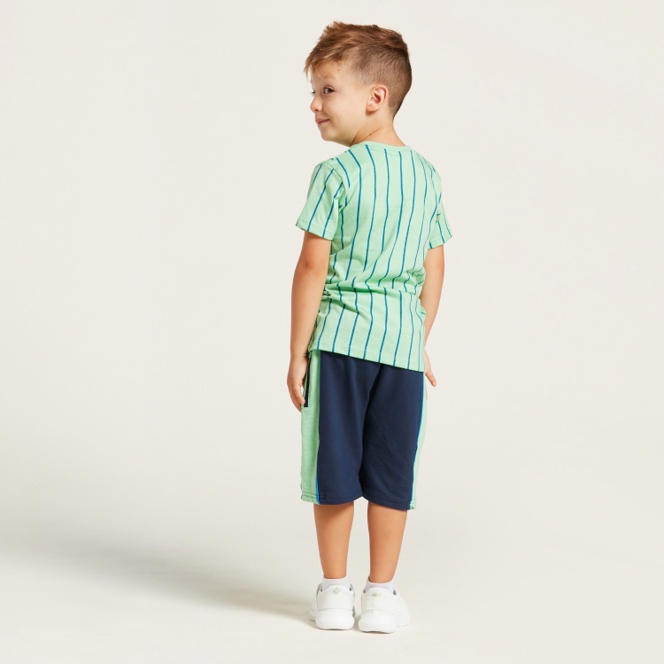 Juniors Striped Round Neck T-shirt and Shorts Set