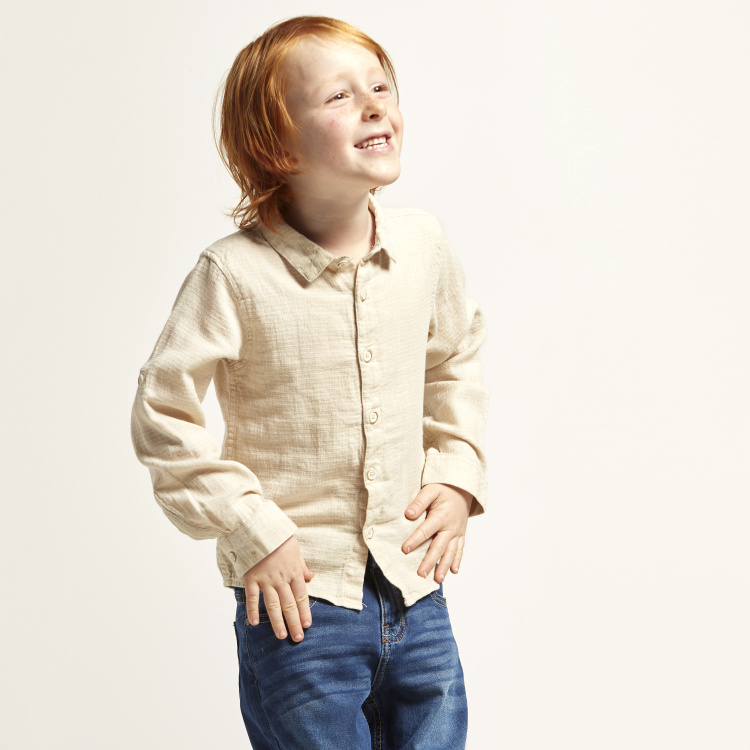 Eligo Solid Shirt with Long Sleeves and Spread Collar