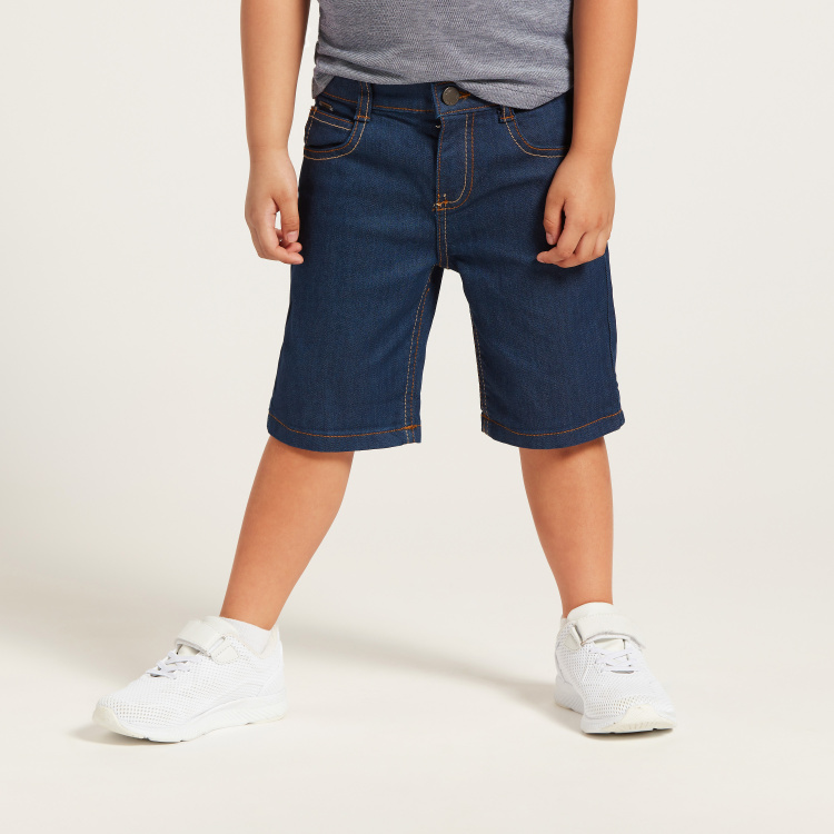 Solid Shorts with Pockets and Button Closure