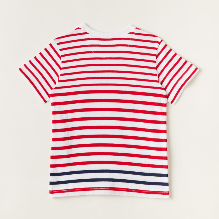 Lee Cooper Striped Graphic Print T-shirt with Short Sleeves