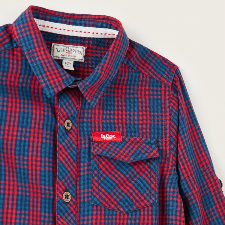 Lee Cooper Checked Shirt with Long Sleeves and Collar