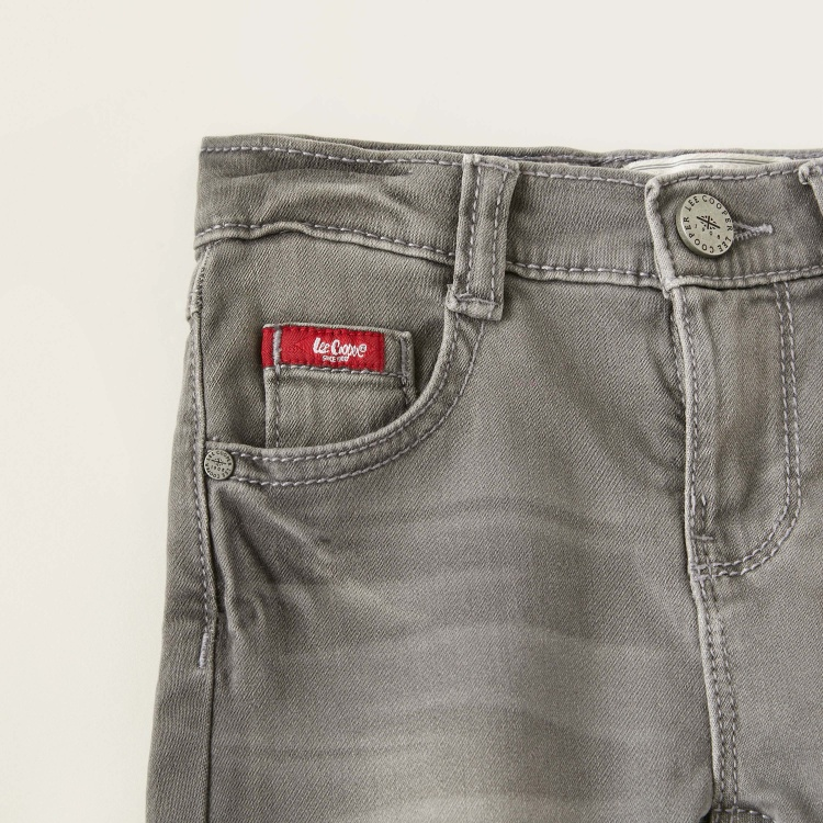 Lee Cooper Solid Denim Shorts with Pocket Detail and Button Closure