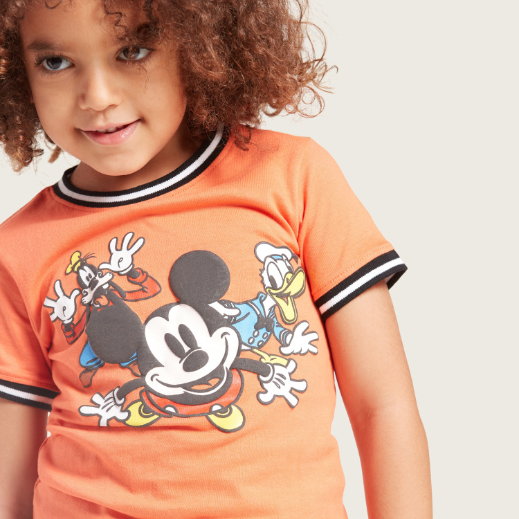 Disney Mickey Mouse Graphic Print T-shirt with Short Sleeves