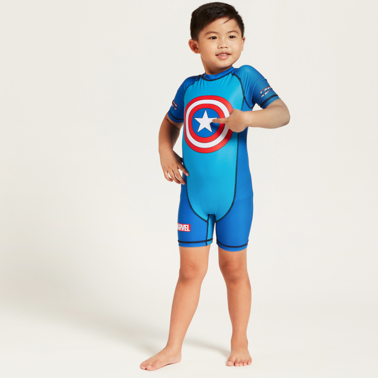Captain America Print Swimsuit with Short Sleeves