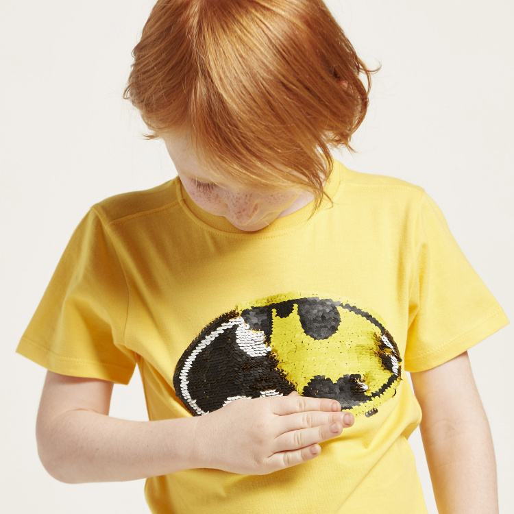 Batman Sequin Detail T-shirt with Round Neck and Short Sleeves