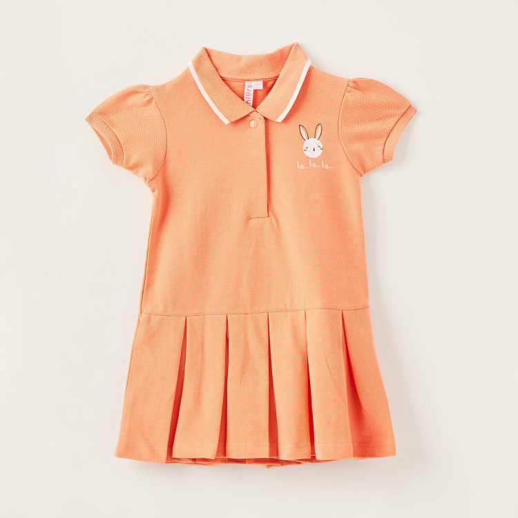 Juniors Solid Polo Dress with Short Sleeves